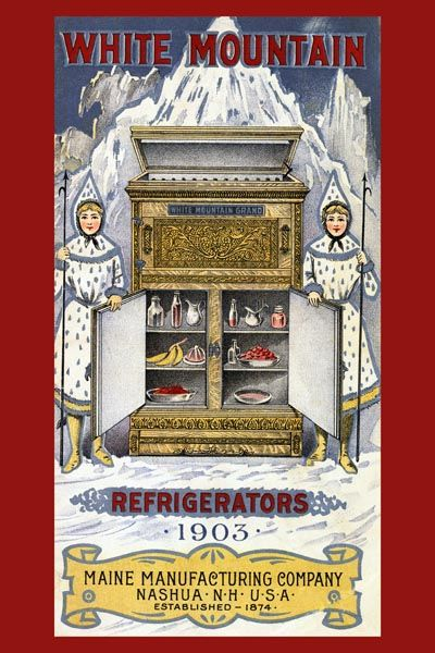 059. Ретро плакат западных стран: Advertisement for White Mountain Refrigerators