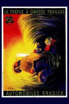 060. Ретро плакат западных стран: Le trefle a quatre feuilles automobiles brasiel