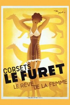 067. Ретро плакат западных стран: Corsets Le Furet Poster by Roger Perot