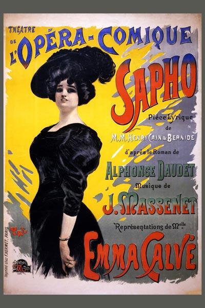 068. Ретро плакат западных стран: Sapho Théâtre de l'Opéra-Comique