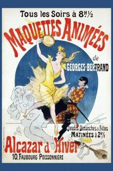 072. Ретро плакат западных стран: Maquettes Animees de Georges Bertrand Poster by Jules Cheret
