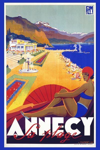 073. Ретро плакат западных стран: Annecy la Plage Poster by Robert Falcucci