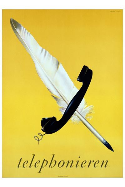 074. Ретро плакат западных стран: Telephonieren Poster by Herbert Leupin