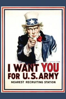 "076. Ретро плакат западных стран: ""I Want You for the U.S. Army"" Recruiting. Poster by James Montgomery Flagg"