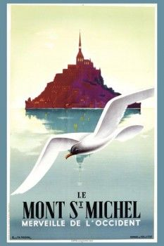 077. Ретро плакат западных стран: Mont St. Michel. Poster by Pierre Fix-Masseau