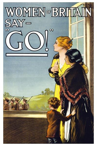 "078. Ретро плакат западных стран: Women of Britain Say - ""Go!"" Recruitment. Poster by E.V. Kealey"
