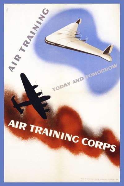 082. Ретро плакат западных стран: Poster for the Air Training Corps by Foss
