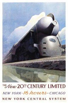 083. Ретро плакат западных стран: The New 20th-Century Limited. Poster by Leslie Ragan