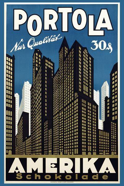 084. Ретро плакат западных стран: Poster Advertisement for Portola Chocolate