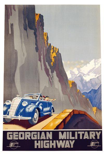 085. Ретро плакат западных стран: Georgian Military Highway. Poster by Alexander Jitomirsky