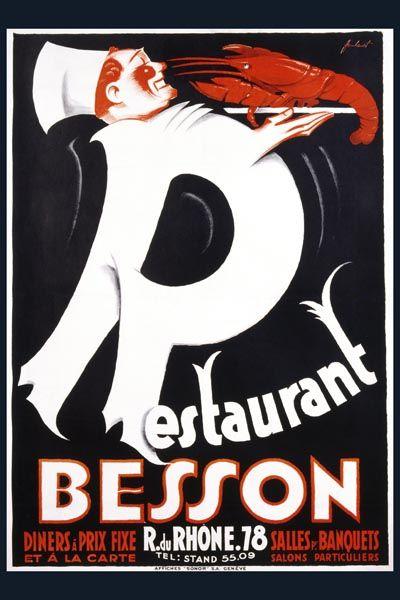 088. Ретро плакат западных стран: Restaurant Besson. Poster by Noel Fontanet