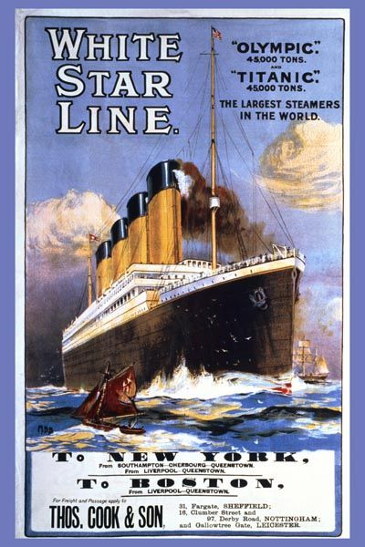 "090. Ретро плакат западных стран: ""Titanic, Olympic, White Star Line"" by Montague B. Black"