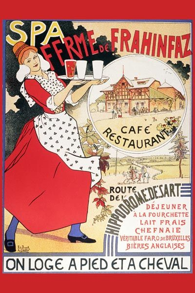 091. Ретро плакат западных стран: Spa ferme de Frahinfaz
