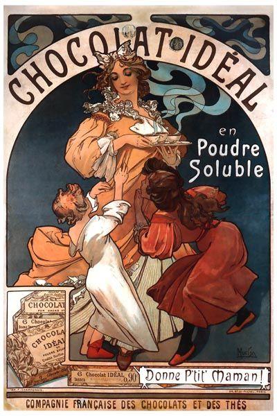097. Ретро плакат западных стран: Chocolat Ideal en Poudre Soluble