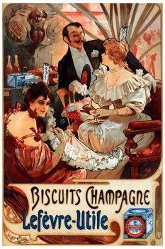 100. Ретро плакат западных стран: Biscuits Champagne Lefevre-Utile