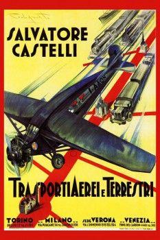 123. Ретро плакат западных стран: Salvatore casteli. Transportiaerel e Terrestri