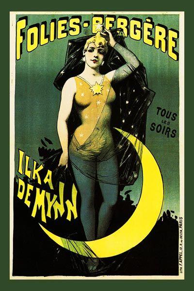 124. Ретро плакат западных стран: Folies-Bergere. Tous les soirs - Ilka Demynn