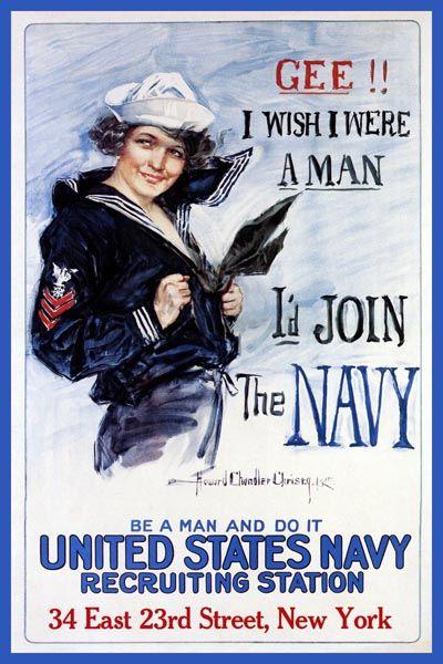 126. Ретро плакат западных стран: Gee! I wish i were a Man. I`d Join the Navy