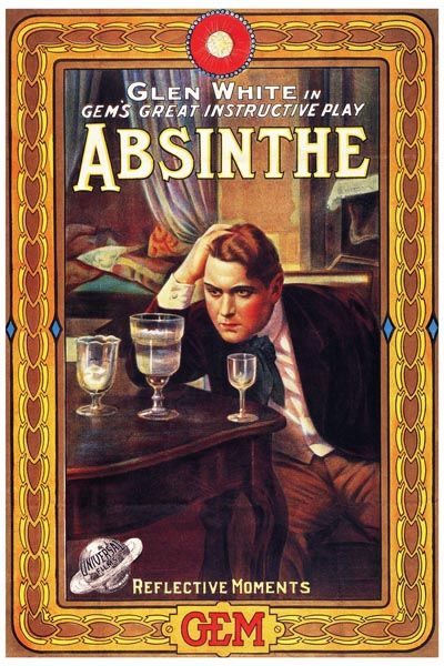 128. Ретро плакат западных стран: Glen white in gem`s great instructive play Absinthe