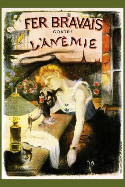 132. Ретро плакат западных стран: Fer Bravais contre L`Anemie