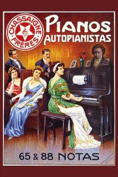 133. Ретро плакат западных стран: Pianos autopianistas 65 @ 88 notas