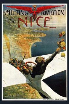 141. Ретро плакат западных стран: Meeting Aviation Nice