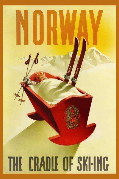 142. Ретро плакат западных стран: Norway. The Cradle of Ski-ing