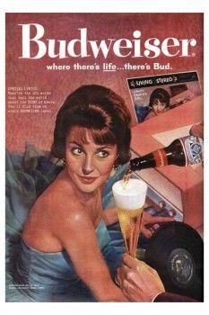 106. Ретро плакат западных стран: Budweiser where there`s life ... there`s Bud