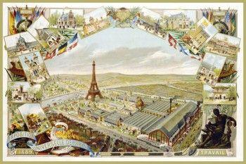 147. Ретро плакат западных стран: Exposition Universelle de Paris 1889 Poster