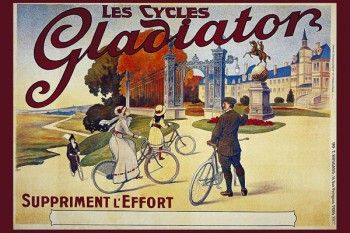 150. Ретро плакат западных стран: Les Cycles Gladiator