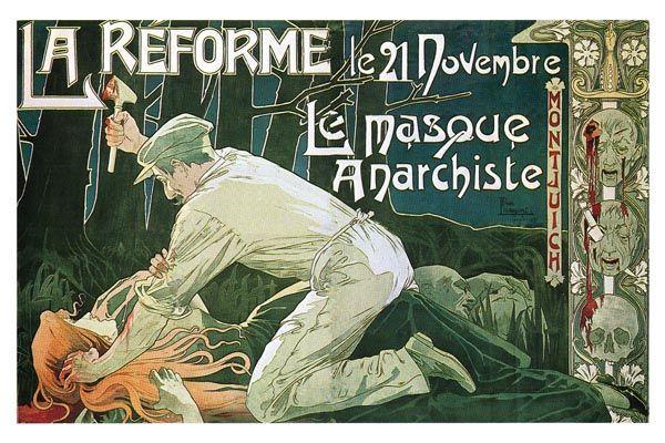 153. Ретро плакат западных стран: La reforme. Le Masque Anarcheste