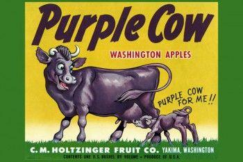 160. Ретро плакат западных стран: Purple Cow. Washington apples