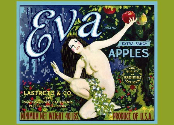 180. Иностранный плакат: Eva brand. Extra fancy apples