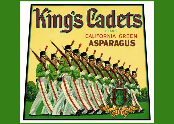 181. Иностранный плакат: King`s Cadets brand. California green Asparagus