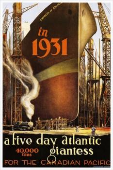 254. Иностранный плакат: In 1931a five day Atlantic giantess