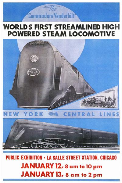 263. Иностранный плакат: World`s first streamlined high powered steam locomotive