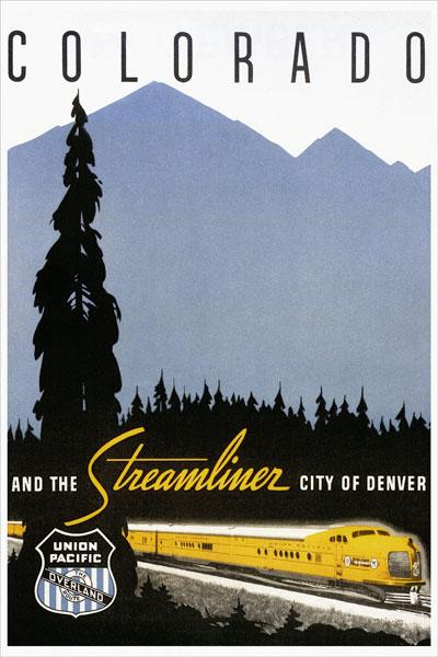 267. Иностранный плакат: Colorado and the streamliner sity of Denver