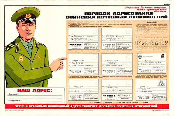 0001. Военный ретро плакат: Порядок адресования воинских почтовых отправлений