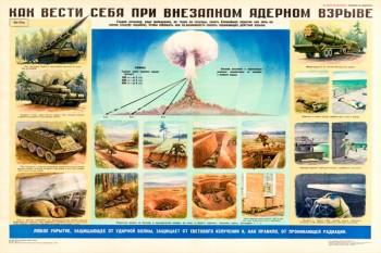 0022. Военный ретро плакат: Как себя вести при внезапном ядерном взрыве