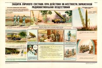 0030. Военный ретро плакат: Защита личного состава при действии на местности, зараженной радиоактивными веществами.