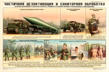 0035. Военный ретро плакат: Частичная дезактивация и санитарная обработка
