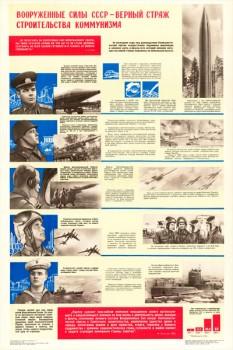 0098. Военный ретро плакат: Вооруженные силы СССР - верный страж строительства коммунизма
