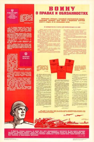 0108. Военный ретро плакат: Воину о правах и обязанностях
