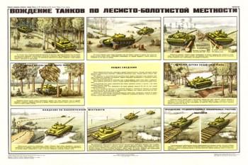 0137. Военный ретро плакат: Вождение танков по лесисто-болотистой местности