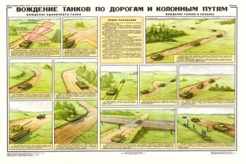 0140. Военный ретро плакат: Вождение танков по дорогам и колонным путям