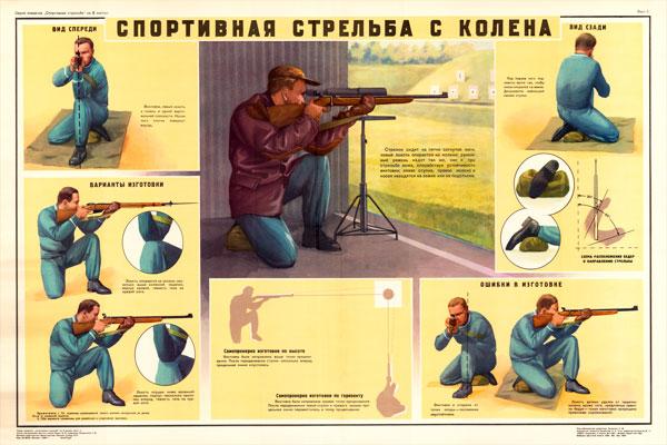 0148. Военный ретро плакат: Спортивная стрельба с колена