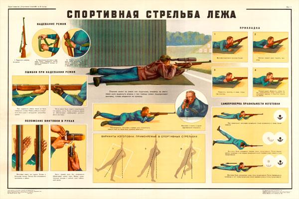 0149. Военный ретро плакат: спортивная стрельба лежа