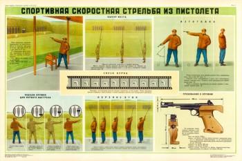 0153. Военный ретро плакат: Спортивная скоростная стрельба из пистолета