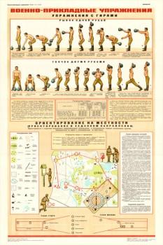 0695. Военный ретро плакат: Военно- прикладные упражнения. Упражнения с гирями.