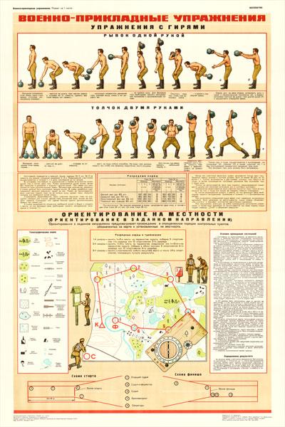0220. Военный ретро плакат: Военно- прикладные упражнения. Упражнения с гирями.